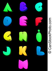 Vector abstract english alphabet. Comic style A-M