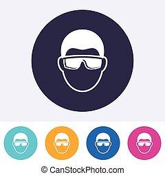 Vector abstract eye protection sign icon - Single vector...