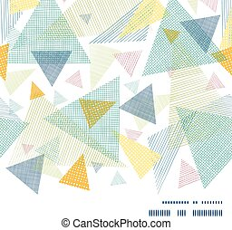 Vector abstract fabric triangles horizontal frame seamless pattern background