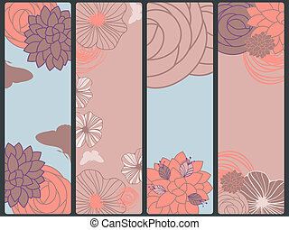 vector abstract floral banners with flowers and butterflies,  place for your text