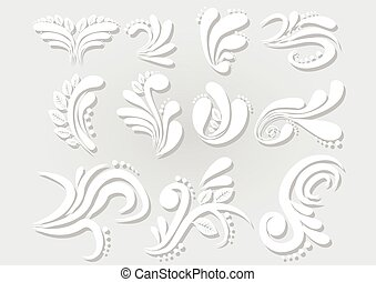 Vector Abstract Floral Set