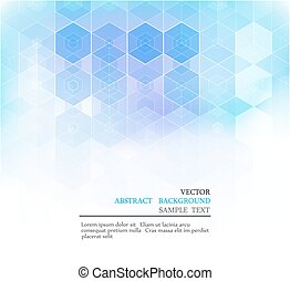 Vector Abstract geometric background. Blue hexagon shape