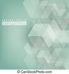 Vector Abstract geometric shape from gray cubes. Turquoise...