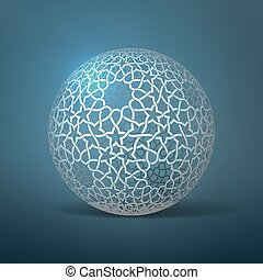 Vector abstract geometric sphere. Based on ethnic ornaments....