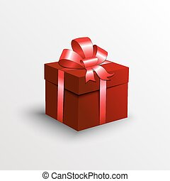Vector abstract gift box with red ribbon