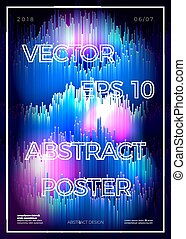 Vector abstract glitched poster design template