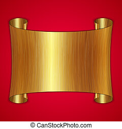 vector abstract gold award scroll plate on red background