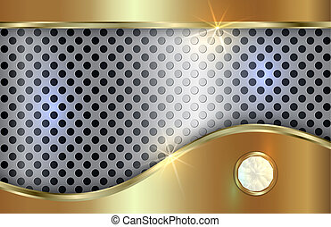 Vector abstract golden and silver background  with curve in tabloid format