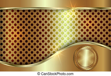Vector abstract golden background  with curve in tabloid format