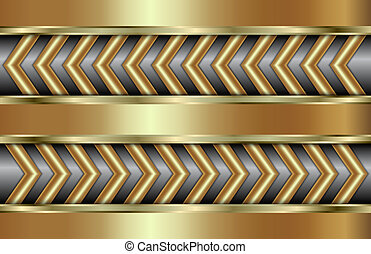Vector abstract golden background  with zigzag in tabloid format
