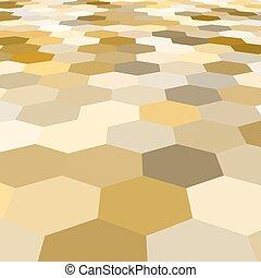 Vector abstract golden hexagonal floor 3d background. Golden backdrop.