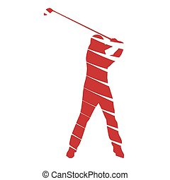 vector, abstract, golfspeler
