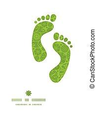 Vector abstract green and white circles footprints...