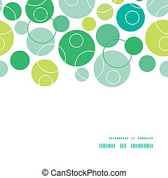 Vector abstract green circles horizontal frame seamless pattern background