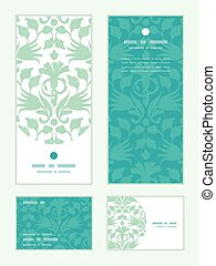 Vector abstract green ikat vertical frame pattern invitation greeting, RSVP and thank you cards set