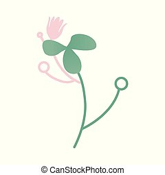 Vector abstract green plant with flowers, leaves