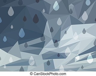 Vector Abstract Grey Background of Raining Day