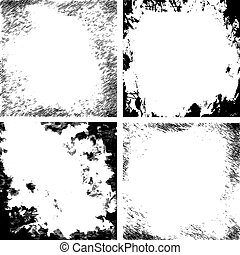 Vector abstract grunge black and white cracked texture border set