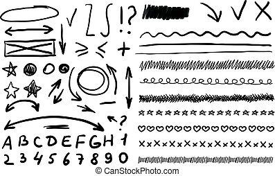 Vector Abstract Hand Drawn Elements, Arrows, Correction Marks.