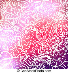 Vector abstract hand-drawn waves texture, wavy background. Blurred template. Invitation card in a doodles style. Pink backdrop,wedding invitation. Floral ornament, plant. Texture. Pattern. Background