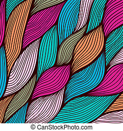 Vector abstract hand-drawn waves texture, wavy background. Colorful waves backdrop.