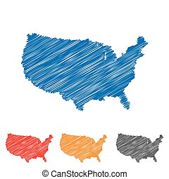 Vector abstract hatched american map. Flat design.