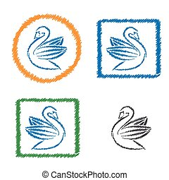 Vector abstract hatched goose. Flat design.