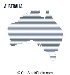 Vector abstract hatched map of Australia with horizontal lines isolated on a white background.