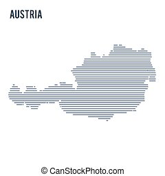 Vector abstract hatched map of Austria with lines isolated on a white background.