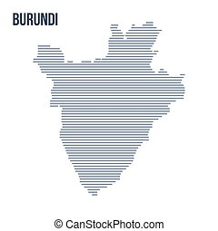 Vector abstract hatched map of Burundi with horizontal lines isolated on a white background.