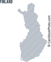 Vector abstract hatched map of Finland with oblique lines isolated on a white background.