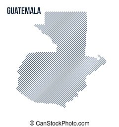 Vector abstract hatched map of Guatemala with oblique lines isolated on a white background.