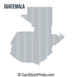 Vector abstract hatched map of Guatemala with vertical lines isolated on a white background.