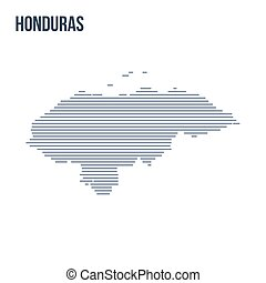 Vector abstract hatched map of Honduras with horizontal lines isolated on a white background.