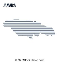Vector abstract hatched map of Jamaica with horizontal lines isolated on a white background.