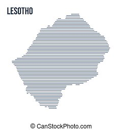 Vector abstract hatched map of Lesotho with horizontal lines isolated on a white background.