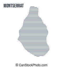 Vector abstract hatched map of Montserrat with horizontal lines isolated on a white background.