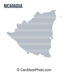 Vector abstract hatched map of Nicaragua with horizontal lines isolated on a white background.