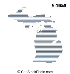 Vector abstract hatched map of State of Michigan with lines isolated on a white background.