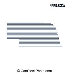 Vector abstract hatched map of State of Nebraska with lines isolated on a white background.