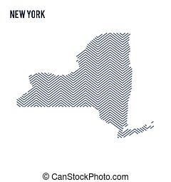 Vector abstract hatched map of State of New York isolated on a white background.