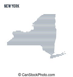 Vector abstract hatched map of State of New York with lines isolated on a white background.