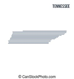 Vector abstract hatched map of State of Tennessee with lines isolated on a white background.