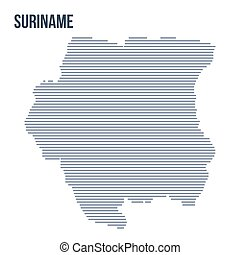 Vector abstract hatched map of Suriname with horizontal lines isolated on a white background.