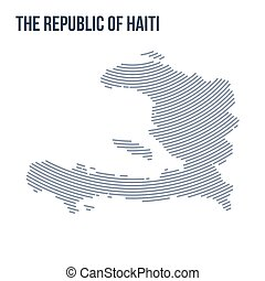 Vector abstract hatched map of The Republic of Haiti with curve lines isolated on a white background.