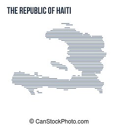 Vector abstract hatched map of The Republic of Haiti with horizontal lines isolated on a white background.