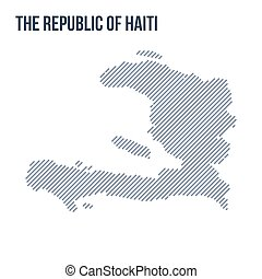 Vector abstract hatched map of The Republic of Haiti with oblique lines isolated on a white background.