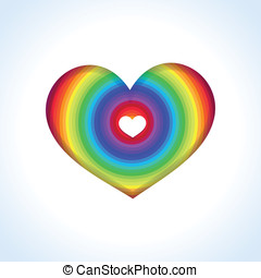 Vector abstract heart in rainbow colors