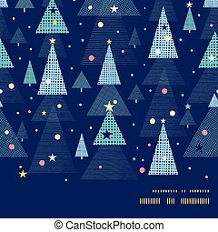 Vector abstract holiday christmas trees horizontal frame seamless pattern background