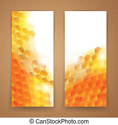 Vector Abstract Honey Banners - Vector Illustration of Two...